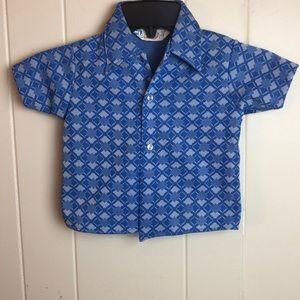 Vintage 70s/80s Blue White Boys Bowling Shirt